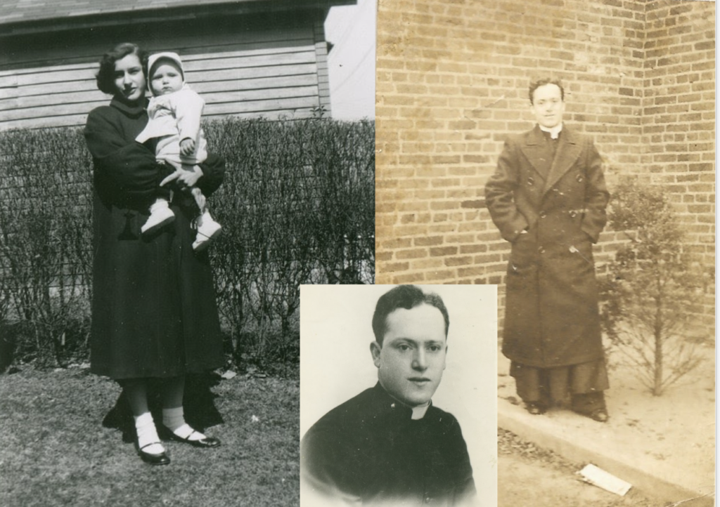 my mother holding my cousin and her brother Angelo during the years he was a priest